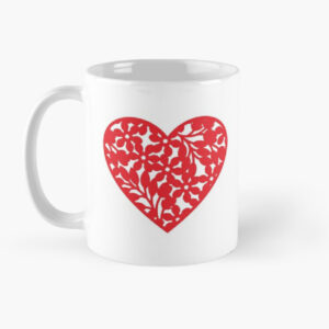 Heart shape printed coffee mug