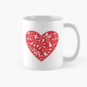Red heart printed in white coffee mug