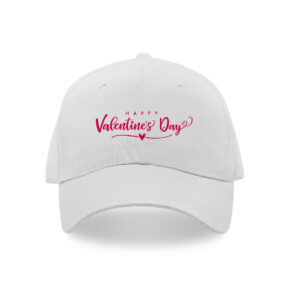 White cap printed with valentine's day wishes