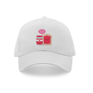 White cap printed with love texts