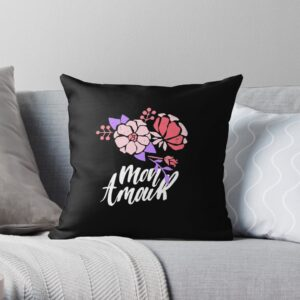 Black throw pillow for sofa, bed and couch