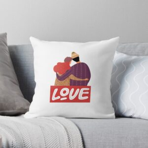 White throw pillow with love texts and pictures