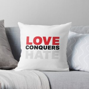 Love conquers hate throw pillow